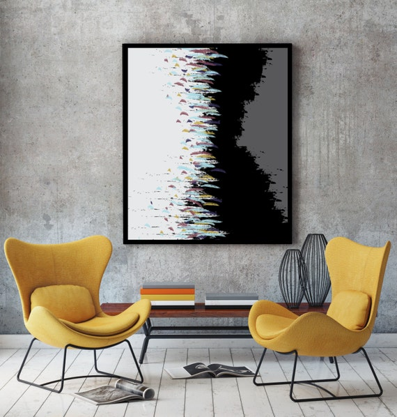 Abstract art print minimalist poster living room decor mid for 500 decoration details minimalism