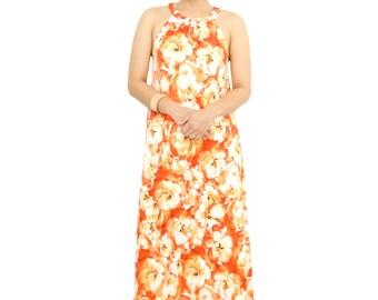 Retro Orange Floral Halter Maxi