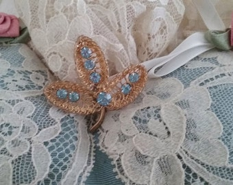 Austria Blue Rhinestone Leaf Goldtone Brooch // Blue Rhinestone Brooch // Leaf Brooch