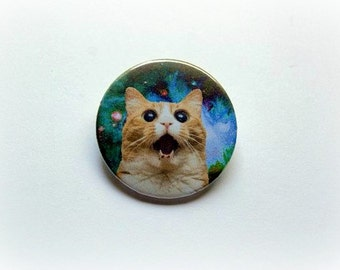 Space cat - pinback button or magnet 1.5 Inch