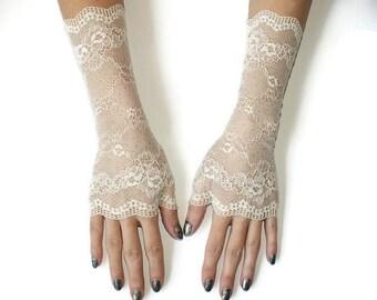 Ivory lace gloves/Wedding long gloves/Bridal lace gloves/Fingerless Gloves