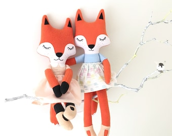 Sleepy fox rag doll / cloth doll