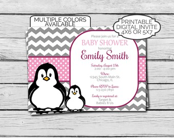 Penguin Baby Shower Invitation - Digital File