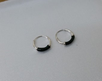 Silver kids earrings hoops with glitter SO240