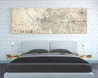 MONTGOMERY AL Canvas Print Alabama Vintage map Montgomery Al Vintage map City Horizontal Large Long Wall Art Panoramic old retro map poster