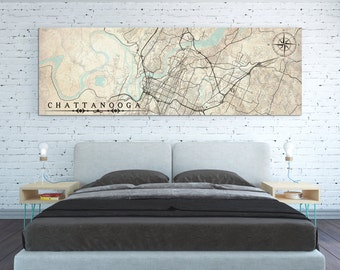 CHATTANOOGA TN Canvas Print Tennessee Chattanooga tn Vintage map City Horizontal Large Wall Art Vintage map Panoramic poster antique old map