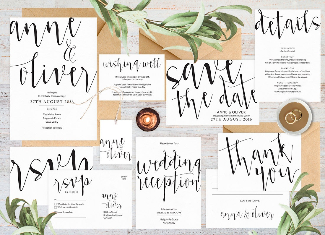 Wedding invitation set, Wedding invitation printable, Black and white wedding invitations, Wedding set, Wedding rsvp card, Save the date