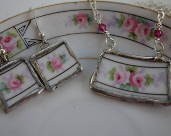 Broken china jewelry-  broken china necklace and earring set-  pink flower necklace and earrings, matching jewelry set