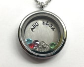 ABU ELSA - Abuela - Silver Edge or Custom Floating Charm Locket - Living Locket - Memory Locket - Custom Hand Stamped Gift for Mom Grandma