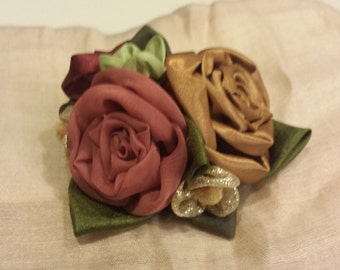 Three rose flower pin and hair clip, hand sewn fabric flowers