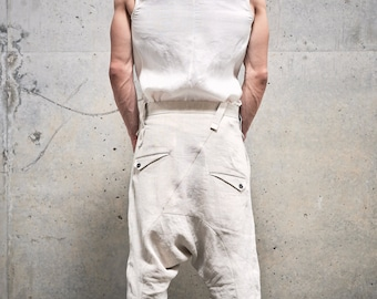 Mens Linen Shorts / Drop Crotch Pants / Linen Low Crotch Trousers / Asymmetric Mens Pants / Futuristic Clothing by POWHA