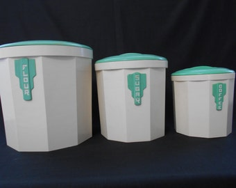 Vintage Art Deco Iplex Bakelite Canisters - Cream and Green - Set of Three  #00128