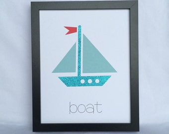 8x10 Boat Layered Paper Art - Childrens Room, Kids Art, Kids Print, All Ages Print - Sailboat