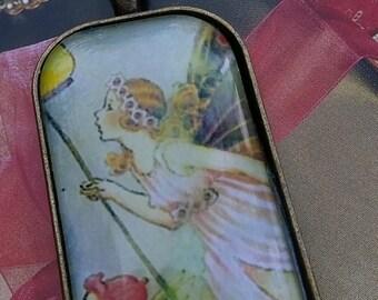 Fairy Art Glass Pendant, Vintage Fairy, Fantasy Art Pendant, Christmas Gift, Fairy Art Glass Necklace