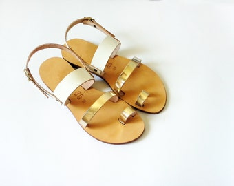 Metallic Leather Sandals in Gold and White Leather