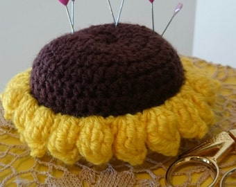 Crochet Pin  Cushion, Sunflower Pin Cushion, Large Pin Cushion,