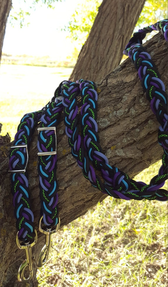 Adjustable horse reins 9 strand paracord horse tack for Paracord horse bridle
