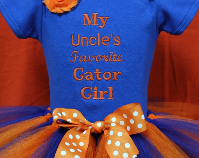 UF Gator clothing, Gator Girl outfit, My Uncle, Orange and blue tutu, Gator tutu, Gator headband, Florida Gators baby girl bodysuit