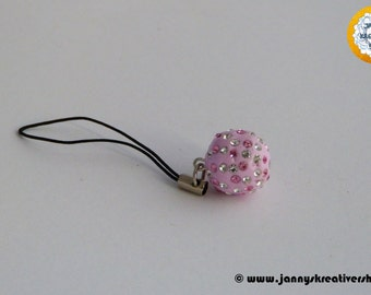 Polymer CLAY bead with chatons as cellphone charms