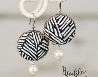 Black and White Zebra Covered Button Earrings