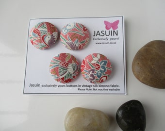 4 buttons made from vintage Japanese silk kimono fabric. Peach/Green/Lavender/White. 29mm.