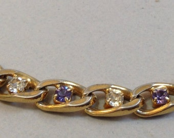 Gold Tone and Silvery Blue and Clear Rhinestone Bracelet