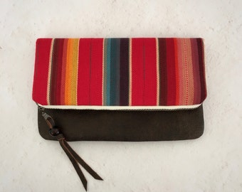 MALAGA fold over clutch, Sarape clutch, Leather clutch, Serape fold over clutch, Serape purse, Leather purse, Handbag, Purse, Serape Fabric