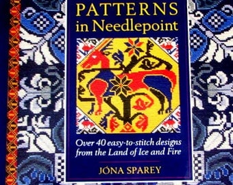 "NEEDLEPOINT BOOKS//.""Icelandic Patterns In Needlepoint"" Over 40 Designs from the land of Ice and Fire..//Was (45.00) Now!"