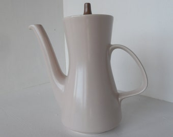 Poole Twintone coffee pot in pale stone and taupe, 1960's mid century modern