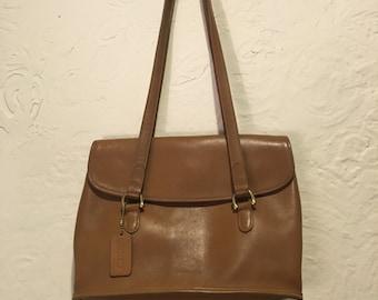 Camel Brown Leather Coach Shoulder Bag