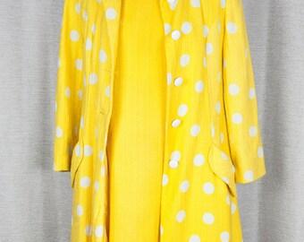 Sunshine Yellow and White Polka Dot 1960's Dress and Jacket Set