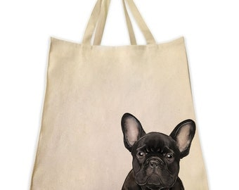 Canvas Tote Bag, Pet Tote Bag, Black Bull Dog Portrait, Gifts for Dog Lovers, Cotton Shopping Handbag, Cute Custom Bags, Made by Tote Tails