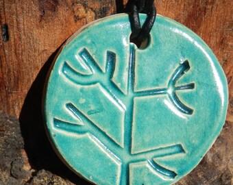 Ceramic Retro Jade Coloured Tree Necklace
