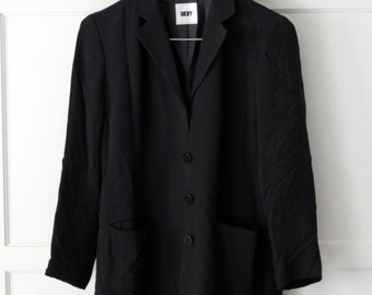 DKNY 100% silk black coat - Sz 8P