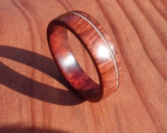 Wooden Inlay Ring,Redwood Burl Ring with guitar string Inlay,Handmade Wooden Band,Redwood Jewelry,Redwood Ring,Wedding Ring,Engagement Ring