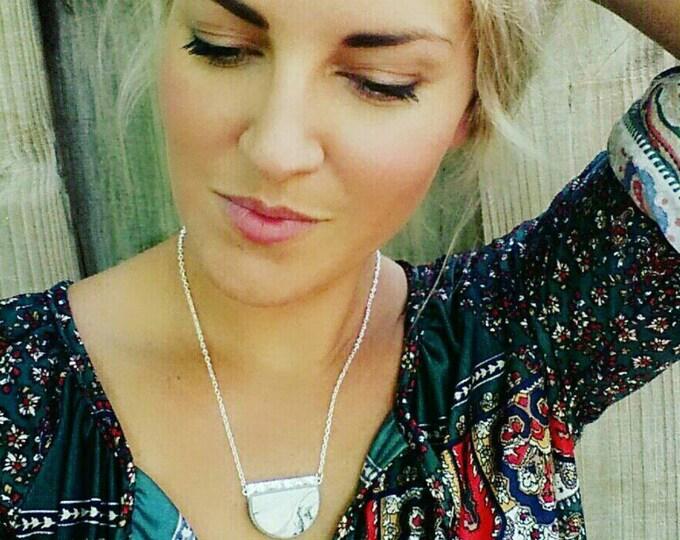 GLITZ BOWL PENDANT necklace// Handmade, polymer clay, white marble, and silver glitter pendant//  Geometric, semi circle pendant// #PN4055