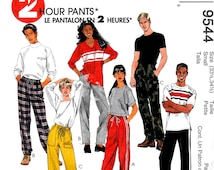 Misses' and Men's Unisex Pants, DIY 2 HR Drawstring Pants, Flannel Pants, Fleece Pants, McCall's Sewing Pattern 9544 Size SM *Free Shipping*