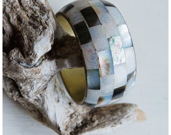 Vintage Wide Mother of Pearl Bangle