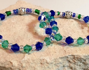 Blue and green mother-daughter bracelet set, Swarovski crystal bead bracelets, toho seed bead bracelets, gift for mom, gift for daughter