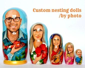 Custom Nesting Dolls - Family Matryoshka - Russian Nesting dolls with portrait  - Personalized Nesting Dolls Nesting dolls for kids - Gift