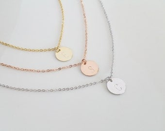 Dainty Initial Necklace, Silver Initial Disc, Bridesmaid Gift, Christmas Present, Monogram Disc, Gold Disc Necklace, Alphabet Charm