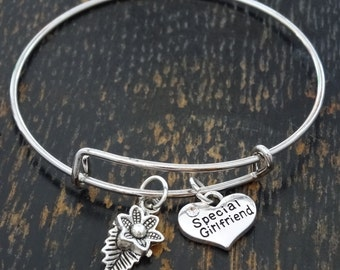 Special Girlfriend Bangle Bracelet, Adjustable Expandable Bangle Bracelet, Girlfriend Bracelet, Girlfriend Jewelry, Girlfriend Birthday Gift