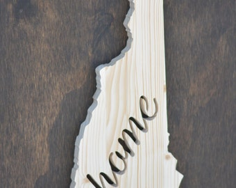 """New Hampshire State Wood Cutout """"Home"""""""
