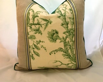 20 x 20 Scalamandre Linen with Linen Flax Panel front, Feather Down Decorative Throw Pillow with Silk Ribbon Trim