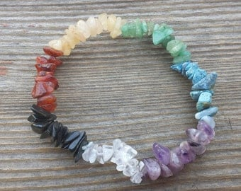 7 STONE CHAKRA Natural Stone Gemstone Stretchy Chip Bracelet