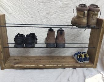 Shoe Rack, Rustic Shoe Rack, Handmade, Wood Shoe Rack, Handmade Shoe Rack, Wood and Steel, Reclaimed Wood, Shoe Storage