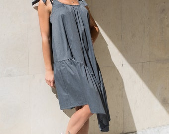 Women Dress, Midi Dress, Cotton Dress, Boho Dress, Ribbon Dress, Strap Dress, Sun Dress, Ruffle Dress, Asymmetric Dress, Midi Dress, Gray