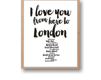 London Print Travel Wall Art I love you from here to London Travel Art City art Instant Download Wall decor Home art England print
