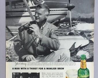 1963 Ballantine Ale Print Ad Featuring John Havey - Elliot Bay Lumber Company