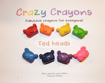 Fun set of Teddy 'Head' Crayons, Set of 8